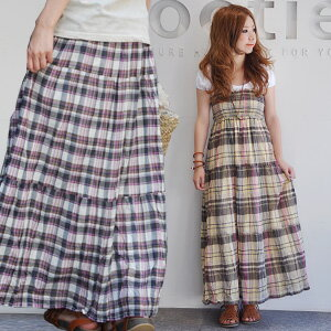 Maxiskirt length キャミワンピース & raise of wages one piece & long skirt / maxiskirt one piece / long one piece / raise of wages top one piece / tiered skirt / Ron ska / natural ◆ ステラマドラスチェックテ�