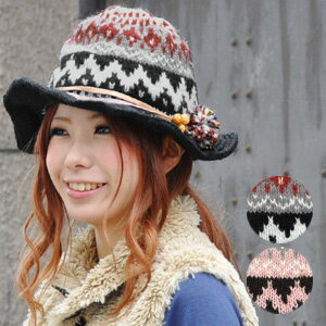 The native pattern knit hat which is full of the expressions that the quality of child of the woman improves! Cowhide ribbon and a soft and fluffy bonbon can stick; is beads folklore knit hat for the leading role of coordinates in one plonk ♪ / wool 95%