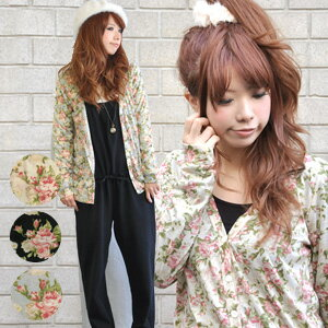 A large floral design cardigan to create gaiety to like an adult elegantly just to put! Because is the feel that is thin, and was smooth; cut-and-sew-like ♪ long sleeves for a turning point and the air conditioner measures of the season, dressing it well
