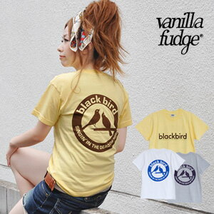 A cute bird sings the back print of the presence size, and the front is cool; simple logo short sleeves TEE! Take /; 100% of / bird / cotton / Lady's / unisex / illustration / cut-and-sew / cotton ◆ vanilla fudge (vanilla fudge): blackbird T-shirt