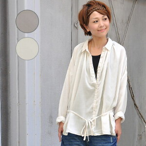 The of superior grade mellow long shot shirt tunic that arrangement is possible with the shirt blouse ♪ ribbon string of adult of the delicate technique plus! It is the long sleeves blouse of the silhouette relaxedly! / light outer / haori / Shin pull /
