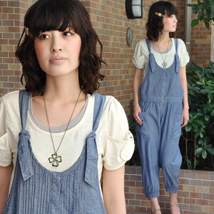 The indecisive length pinch-hitter that it is with rubber to lovely mature refreshing dungarees combinaison ♪ waist and hem, and length, silhouette adjustment is possible! / light denim / shirting / plain fabric / knee length / big pocket / tuck / adult girly / chambray all-in-one ◆ dungarees salopette pants