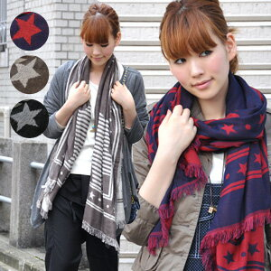 Adult star pattern scarf! always is a POP star pattern x border pattern is color & soft in cotton double gauze so classy! Reversible 2WAY specification on the length & fringed shawl is thick! And both sides can be used 2-WAY muffler and tasty ◆ ス