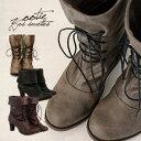 女性らしい華奢なたたずまいに秘められた無限のポテンシャルを感じさせるアレンジブーツ!楽天ランキング入賞!折り返すとショートブーツにも、靴紐を取り外してブーティーにも変化する今季イチオシの当店オリジナルフェイクレザー編み上げブーツ/ハイヒール/アンクルブーツ/合皮/合成皮革◆Zootie(ズーティー):ステラ3WAYレースアップミドルブーツ