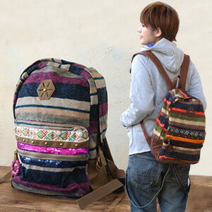 The colorful folklore different fabrics change rucksack which gives off strange presence! Large-capacity bag / defeat rush / knit / day pack / inside pocket / fake leather ◆ Marrakech horizontal stripe rucksack shining in coordinates in the fall and wint