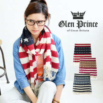 Brand GLENPRINCE of Scotland, star pattern x japantm large shawl crochet! Light caught feeling like gauze wool 100% light stalls ◆ PRINCE GLEN (Glen Prince): ストライプスターウール gauze scarf