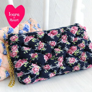 Lara & heart big featured quilt series latest ♪ travel pouch is ideal for high-volume! And it's with a chain from bag charms, clutch bags and even OK ◆ Lara &Heart (ララアンド heart): ローズニット quilted pouch