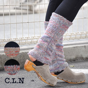 Dual structure ◎ / full-length / different fabrics reshuffling ◆ C.L.N (sea L N) which the layered ten minutes length heel loss that I did opened a leg warmer, and spats ♪ lib cloth had built-in: Colorful rainbow boucle leg warmer leggings [トレンカ]