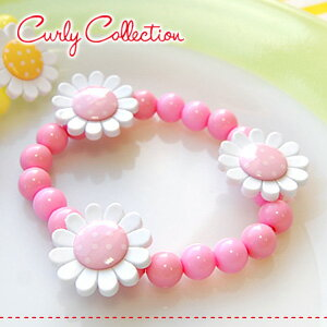 Colorful, kitschy accent beads bracelet is the flower button! In highly stretchable nylon string with easily removable! Because light in the kids ' recommended / rubber/plastics / polka dot ◆ Curly Collection (Kali collection): flower Bead Bracelet [ligh