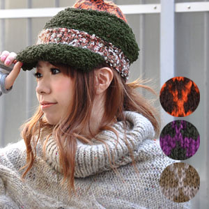 A knit cap with the personality group saliva that patchwork seemed to make various types of knit! Hat / bulky / moco moco / boucle / handmade / men / Lady's / unisex / man and woman combined use ◆ Noel knit casquette with the colorful saliva which is goo