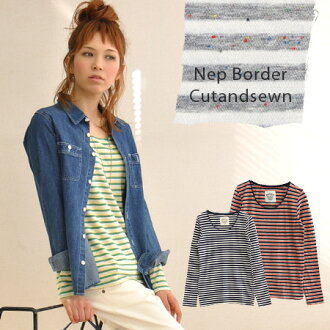 The neckline of the lively horizontal stripe long sleeves T-shirt ♪ cut-off design which colorful NEP was inlaid with is cute! It is ◎ / affordable price / Lady's / tops ◆ colorful NEP roll neck horizontal stripe cut-and-sew for both the leading role and