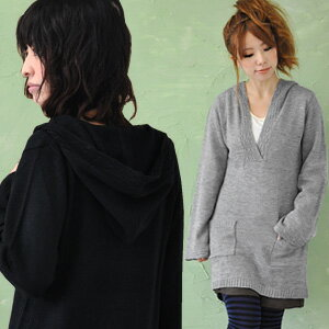 A light knit tunic with food of the skipper-like design that ♪ design knitting was treated rhythmically by an attendant of the daily! The finish ♪ / affordable price ◆ V neck food knit one piece which ON does pocket rib on a parka dress, and seems to be