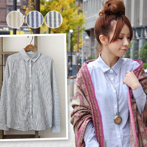 Pastel pattern モノブラウス recommended! Inn and out stripes regular shirt as a Cape ◎ thin stripe in natural, pale! 100% cotton border shirts / pattern shirt and cotton shirt and sleeve ◆ striped heart embroidered shirt