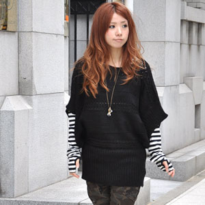 The horizontal stripe design knitting transformation knit pullover that the room of adult overflows! Poncho-like knitwear ♪ / monotone / browsing / short sleeves / incompleteness sleeve / rib / plain fabric ◆ border knitting dolman sleeve knit tunic enjo