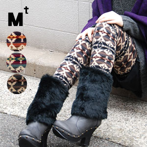 Folklore-style posts a difference from the step in prevalent now! Ten minutes length colorful knit leggings / ten minutes length ◆ Mt (M tea) that a knee is hard to appear in a silky elasticized little knit material and is easy to handle: Native pattern full-length leggings