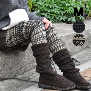 The monotone Nordic events pattern spats which had moderate sweetness & chic さを! Ten minutes length knit leggings / ten minutes length ◆ Mt (M tea) which a knee is hard to appear in a silky elasticized little knit material and is easy to handle: Fair