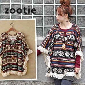 Easy wear ◆ Zootie (zoo tea) where folklore coordinates are completed just to put on genuine feather and full-scale native knit so cape ♪ with fringe beads: ボヘミアンロッティースノープリントポンチョ