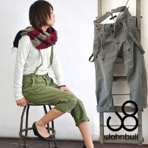 Odd-length pants with plenty of vintage work pants in the early 1900's with the motif! Salter-style loose three-dimensional cutting tapered / women's / cotton ◆ Johnbull ( jumble ): サスペンダーワークサージクロップド pants [AP031]