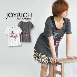 Pop shut American Flagg print 'JOY' logo in printed women's short sleeve shirt / stars and stripes /USA/Americana Joy Tee JOY-F1106DT ◆ JOY RICH ( Mickey Mouse No1 ): Americana JOY ロゴチュニック T shirt