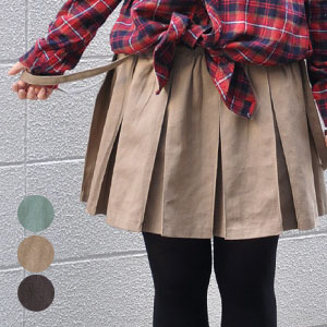 "A hem expanse silhouette is the powerful charm of the pleated skirt! Clear pleats of moderate thickness are the wide pleated skirts with 100 / cotton %◆ suspenders with the direction ♪ miniskirt / plain fabric / lining for ""a feeling of preppy which"