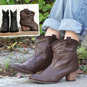 The western boots which is not too serious to be able to wear for a stylish bootie sense! By the simple design whi