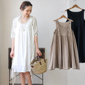 "Indian cotton one piece ♪ clogged up with a feeling of natural relaxation is a feeling softly and directs ""a girly"". The / plain fabric ◆ paisley embroidery no sleeve cotton one piece that embroidery of the chest given with the thread of the co"