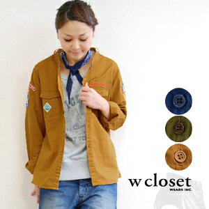 A feeling of size of the ♪ well lady's specifications which is pretty when a girl wears it simply because it is the strong design of the boy-like impression. / long sleeves ◆ w closet (double closet) with the vintage-like emblem: No-collar twill Boy Scou