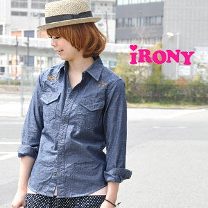 Western shirt into a cute pony embroidery! Irony seeming unbearably cute long sleeve chambray denim shirt! /Pony western shirts and embroidered ◆ irony (irony irony): ポニーステッチシャンブレー Western shirt