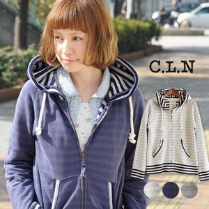 Plain! ? Mysterious horizontal stripes to appear on appearance! The design which is individual by the well-controlled reshuffling of the hem & cuffs. でしょ ♪ long sleeves / front zip / haori / gauze fleece pile ◆ C.L.N (sea L N) stylish as for the rope string of the food: Horizontal stripe pile sweat shirt raglan sleeves parka