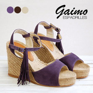 With movable fringe! A delicate ankle strap made in Spain wedge sole sandal / leather/storm/platform ◆ Espadrille by GAIMO ( エスパドリーユバイガイモ ) :ETICA スエードタッセルフリンジエスパドリーユ sandals