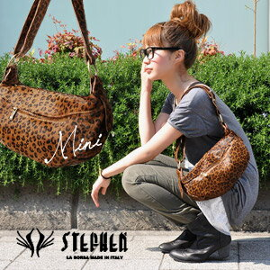 Lavishly designed in completely harako leather animal pattern half moon bag / hail pattern / Leopard pattern and save with bags / leather bags / bag / bag / shoulder / also / Pocket/Italy-made /made in Italy ◆ STEPHEN (Stefan): レオパードハラコミニワンショルダー bags