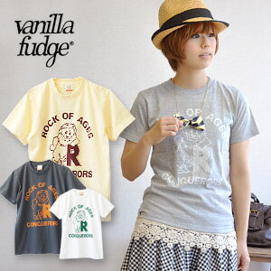 The back print of the short-sleeved Tee ♪ logo style that the lion which I selected a pose as is lovely is a point! Lady's cut-and-sew ◆ vanilla fudge (vanilla fudge) of the compact size that a girl is worn in just: CONQUERORS LION T-shirt