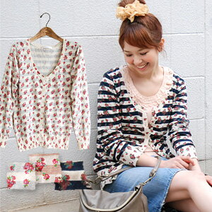 "The ""pattern on pattern"" cardigan that seasonal Malin horizontal stripes and small floral design became one! The light knit material which is good in spring and summer. The 100-percent-cotton knit so is most suitable for the haori of air condit"