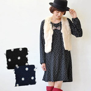 Popular key knitting race neckband みずたま dress sold out immediately is an appearance by the simple race collarless design! Is not prickly; and the knit one piece /A line / knit cut-and-sew tunic / long sleeves puff sleeve / waterdrop / dot pattern ◆ dot k