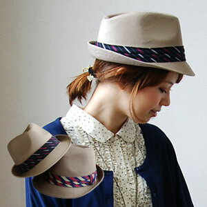 Striped neckties, chides tender studs with cotton material! Irritation, casual and very girly though lined with 中おれ hats of course, preppy ◆ クレアストライプ tie Ribbon Hat