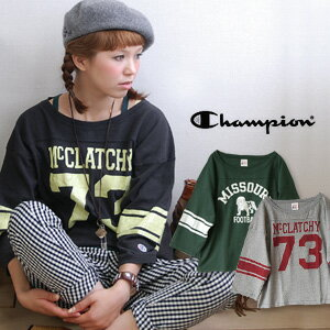 The King of casual! Big silhouette of a champion 9-sleeve football Tee! / sewn / logo printing and odd sleeves / 9-women's women's and men's unisex, sleeves ◆ Champion (champion): 3 / 4 SLEEVE FOOTBALL T-SHIRT CW-Y415