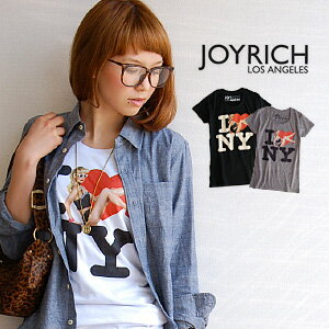 JOYRICH's bold and provocative Lady print! Women's short sleeve sewn/t shirt / Dolly girl produces a beautiful body line / New York /JOY-F1192TE ◆ JOY RICH ( Mickey Mouse No1 ) :Leah Dolly Love NY Tee