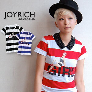 The thicker border pattern seems to be daring and provocative Lady print JOYRICH! Generating line of the body beautiful Womens short sleeve sewn/t shirt /JOY-F 11 A4TE ◆ JOY RICH ( Mickey Mouse No1 ) :Leah Dolly Girl Striped Tee
