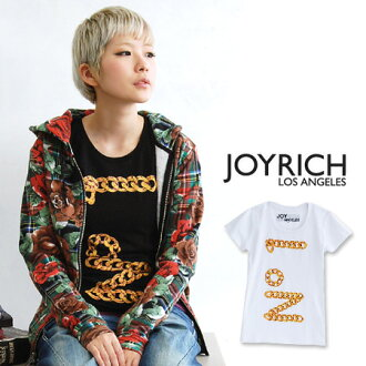 Seems to be bold, luxury JOYRICH painted with gold chain 'No.1' logo print! Ladies ' short sleeve shirt / チェーンリンクドナンバーワン T shirt JOY-F1197TE ◆ JOY RICH ( Mickey Mouse No1 ) :Chain Linked N 01 Tee