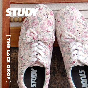 "Low-frequency cut sneakers of NEW brand ""STUDY"" of the topic that ON performed of a flower race in floral design! ""Race drop"" / floral design white race ◆ STUDY (study) that added ribbon to a base with simple, light Oxford sneakers: T"