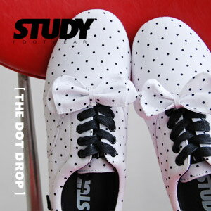 "Low-frequency cut sneakers of NEW brand ""STUDY"" of the topic that a small dot pattern was described in on cloth of white background! ""Dot drop"" / white / waterdrop pattern ◆ STUDY (study) that added ribbon to a base with simple, light"
