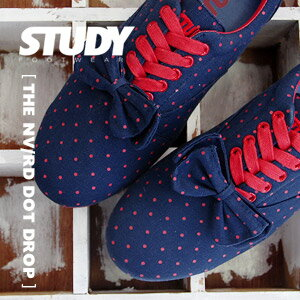 "Low-frequency cut sneakers of NEW brand ""STUDY"" of the topic that a dot pattern of the dark blue X red was described in! ""Dot drop"" / navy / waterdrop pattern ◆ STUDY (study) that added ribbon to a base with Oxford sneakers: THE DOT DROP [NAVY/RED]"