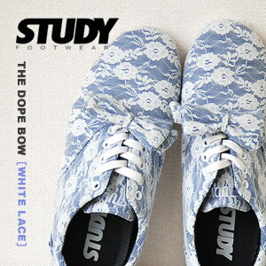 "Total race low-frequency cut sneakers of NEW brand ""STUDY"" of the topic! ""The dope bow tie"" / floral design white race ◆ STUDY (study) which added ribbon to a base with simple, light Oxford sneakers: THE DOPE BOW [WHITE LACE]"