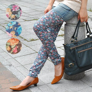 It is length / full-length / Rose / rose / rose / rose ◆ patty flower leggings for length spats / ten minutes for ten minutes of cut-and-sew material coping in the ♪ oar season when it is hard to be worried about the growth of the pattern without insisti