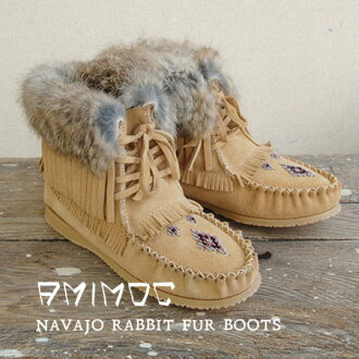 Bohemian elements rich ♪ ankle-length Shearling boots toe wrapped in fluffy boa! / Bohemian / leather suede and shoe /NAVAJO RABBIT FUR W/INDIAN ◆ AMIMOC ( アミモック ): ラビットファーシープスキンナバホモカシンショートブーツ