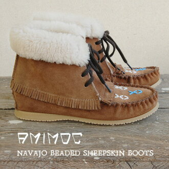 Bore x Sheepskin moccasin shoes! Bohemian elements with plenty of ankle-length Shearling boots and leather suede and shoe /NAVAJO-BEADED-SHEEPSKIN W/INDIAN ◆ AMIMOC ( アミモック ): ボアシープスキンナバホモカシン short boots
