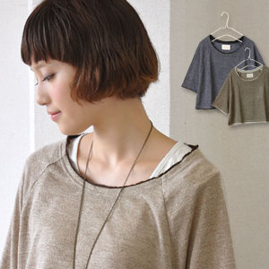 Nanoco-らしい wearing clothes one over another-like short length knit cut-and-sew on lam glittering shiningly! Plain fabric tops ◎ / slight wound / light knit ◆ lam knit fake layer DOS love knit so to charm you by an adult color with a feeling of ♪ MIX wher