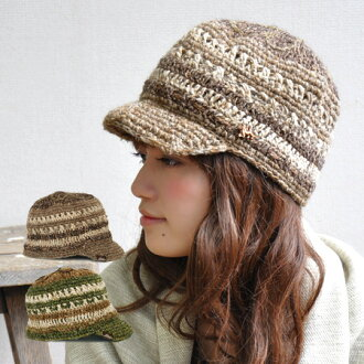 Acrid-smelling small saliva knit for natural knit cap ◎ hardening of hemp and the wool knit which waste flowers such as the sun were drawn on on the top is / ethnic ◆ Sonny hemp knit casquette with the knit hat / saliva with the CUTE ♪ / saliva
