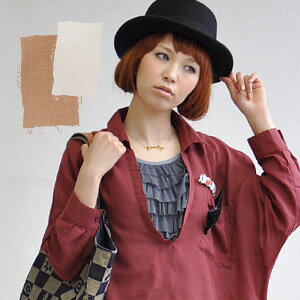 It is with the refined velour ribbon which is clipped to the V neck blouse ♪ broach of the ゆる silhouette that natural coordinates are completed like an adult just to wear it! Twill dolman skipper shirt with the / long sleeves / plain fabric / Lady's ◆ ve