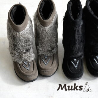 Stack rabbit fur to upper of Kaus Wade; the inside is a luxurious bootie using the sheepskins more. It is entering beads embroidery / opera pump / shoes / import /fs3gm ◆ MUKS (mook) rabbit farce aide mouton boots in the former